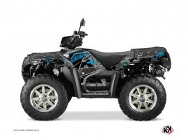 Polaris 850 Sportsman Forest ATV Visor Graphic Kit Black Blue