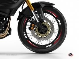 Kit Déco Tour de jantes Moto Trail Adventure Yamaha XTZ 1200 Super Ténéré World Crosser Noir Rouge