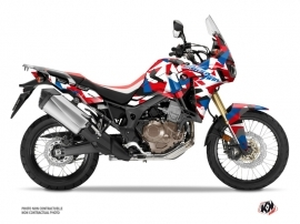 Honda Africa Twin CRF 1000 L Street Bike Delta Graphic Kit Red Blue