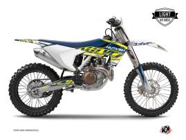 Kit Déco Moto Cross Eraser Husqvarna TC 125 Jaune - Bleu LIGHT