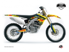 Kit Déco Moto Cross Eraser Suzuki 250 RMZ Bleu Jaune LIGHT