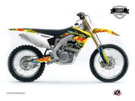 Suzuki 450 RMZ Dirt Bike Eraser Graphic Kit Blue Yellow LIGHT