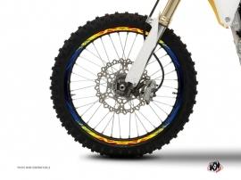 Kit Déco Tour de jantes Moto Cross Eraser Bleu Jaune