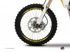 Kit Déco Tour de jantes Moto Cross Eraser Fluo Jaune