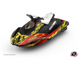 Seadoo Spark Jet-Ski Eraser Graphic Kit Red Yellow
