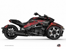 Can Am Spyder F3T Roadster Eraser Graphic Kit Grey Red