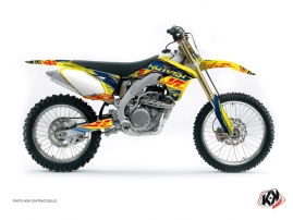 Suzuki 450 RMZ Dirt Bike Eraser Graphic Kit Blue Yellow