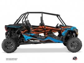 Polaris RZR 1000 Turbo 4 doors UTV Faster Graphic Kit Orange Blue