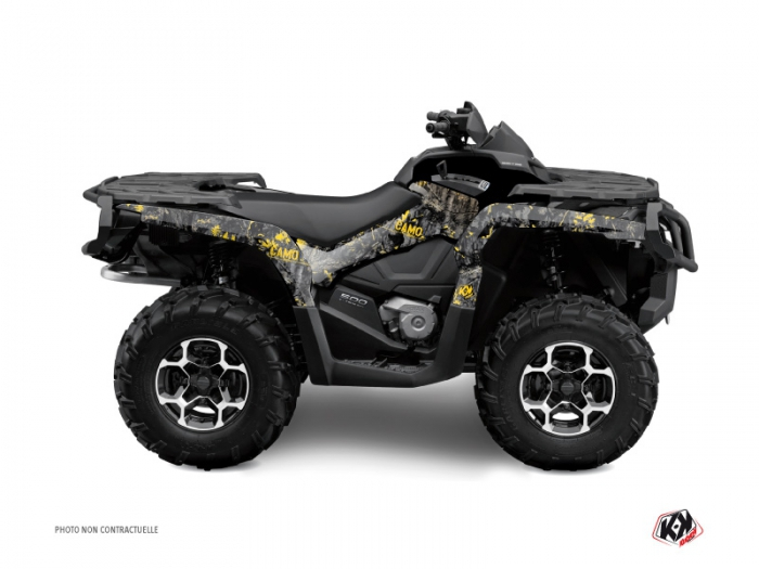 Can Am Outlander 400 XTP ATV Camo Graphic Kit Black Yellow