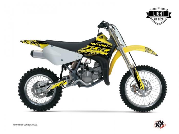kit d 233 co moto cross eraser suzuki 85 rm jaune noir light kutvek kit graphik