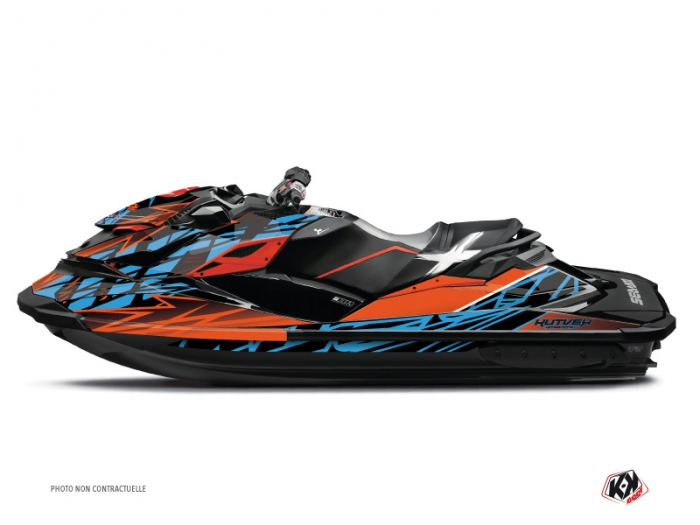 kit d co jet ski eraser seadoo rxt gtx orange bleu kutvek kit graphik. Black Bedroom Furniture Sets. Home Design Ideas