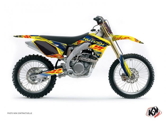 kit d co moto cross eraser suzuki 250 rmz bleu jaune kutvek kit graphik. Black Bedroom Furniture Sets. Home Design Ideas
