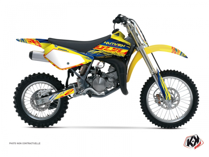 kit d 233 co moto cross eraser suzuki 85 rm bleu jaune kutvek kit graphik