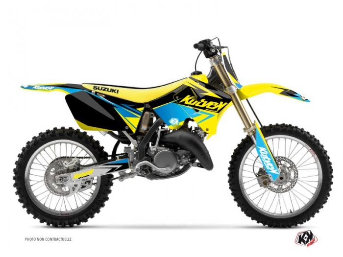 kit d co moto cross stage suzuki 125 rm jaune bleu kutvek kit graphik. Black Bedroom Furniture Sets. Home Design Ideas
