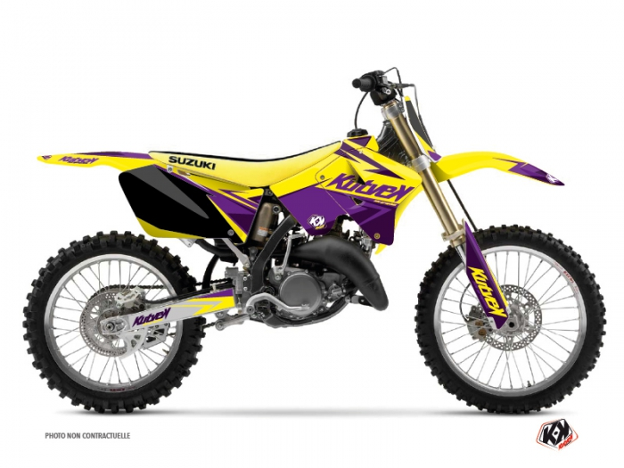 kit d co moto cross stage suzuki 125 rm jaune violet kutvek kit graphik. Black Bedroom Furniture Sets. Home Design Ideas