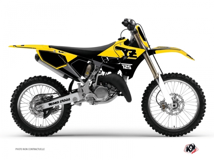 Yamaha 125 YZ Dirt Bike Vintage Graphic Kit Yellow