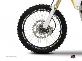 Kit Déco Tour de jantes Moto Cross Freegun Bleu Jaune