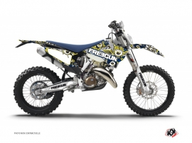 Kit Déco Moto Cross Freegun Eyed Husqvarna 125 TE Bleu - Jaune