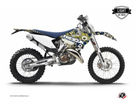 Kit Déco Moto Cross Freegun Eyed Husqvarna 125 TE Bleu - Jaune LIGHT