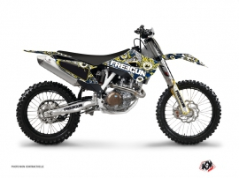 Kit Déco Moto Cross Freegun Eyed Husqvarna TC 250 Bleu Jaune