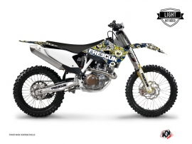 Kit Déco Moto Cross Freegun Eyed Husqvarna TC 250 Bleu Jaune LIGHT