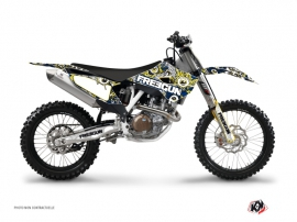 Kit Déco Moto Cross Freegun Eyed Husqvarna FC 450 Bleu Jaune
