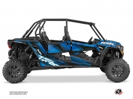 Polaris RZR 1000 Turbo 4 doors UTV Graphite Graphic Kit Blue