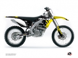 Suzuki 450 RMZ Dirt Bike Halftone Graphic Kit Black Yellow