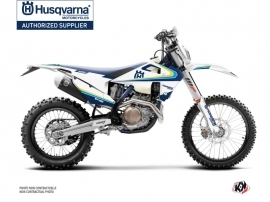 Husqvarna 350 FE Dirt Bike Legacy Graphic Kit Blue Yellow