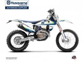 Husqvarna 350 FE Dirt Bike Block Graphic Kit Blue Yellow