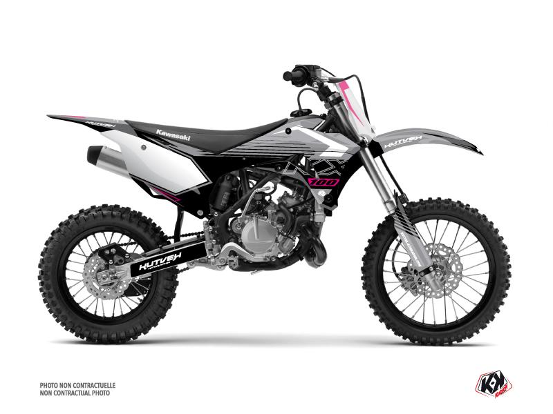 Kawasaki 100 KX Dirt Bike Claw Graphic Kit Grey