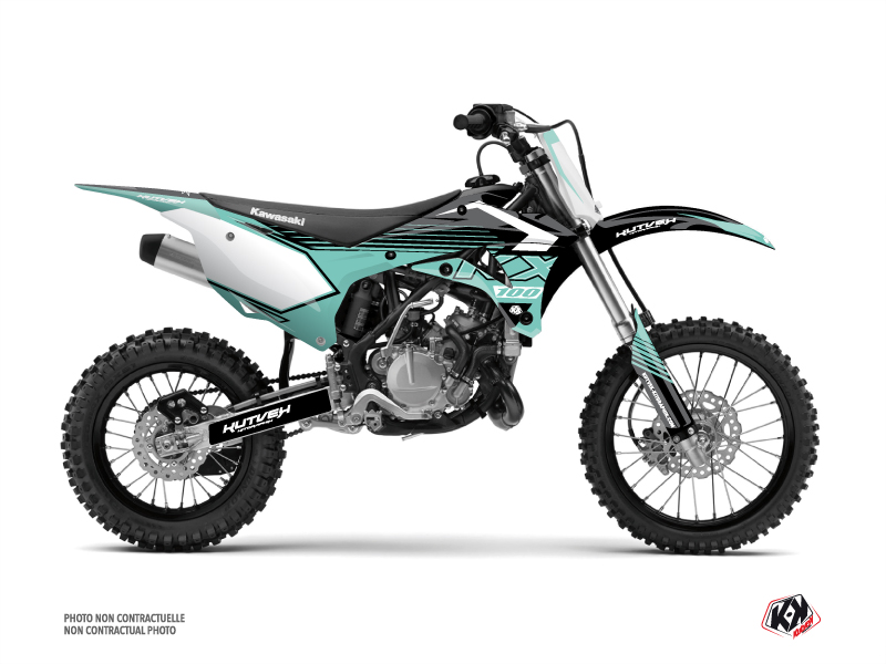 Kawasaki 100 KX Dirt Bike Claw Graphic Kit Turquoise