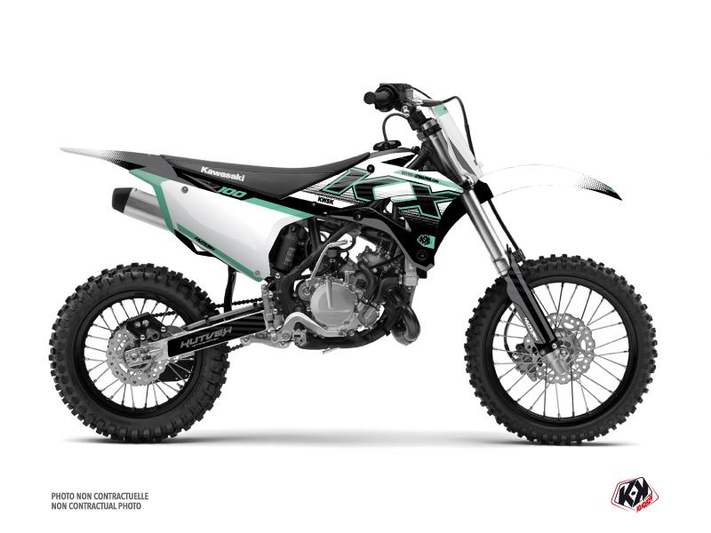 Kawasaki 100 KX Dirt Bike Live Graphic Kit Turquoise