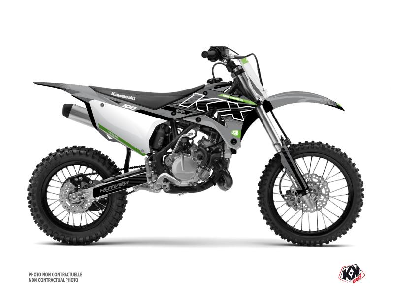 Kawasaki 100 KX Dirt Bike Live Graphic Kit Grey