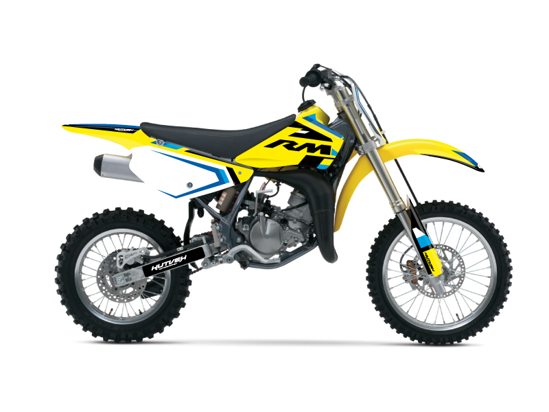 Suzuki 85 RM Dirt Bike Label Graphic Kit Blue