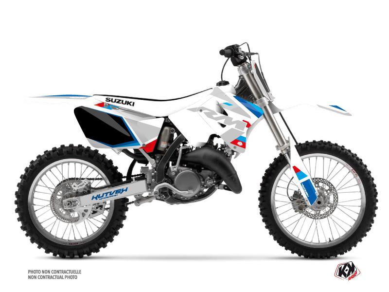Suzuki 125 RM Dirt Bike Label Graphic Kit White
