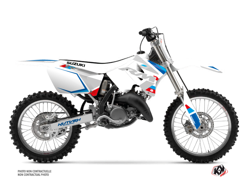 Suzuki 250 RM Dirt Bike Label Graphic Kit White