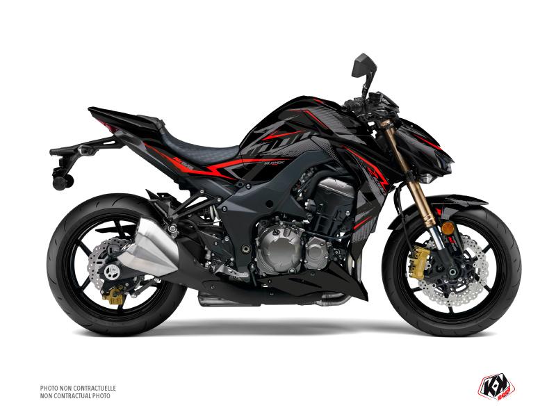Kit Déco Moto Airline Kawasaki Z 1000 Noir Rouge