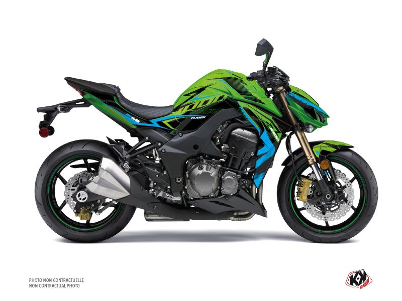 Kawasaki Z 1000 Street Bike Airline Graphic Kit Green Blue