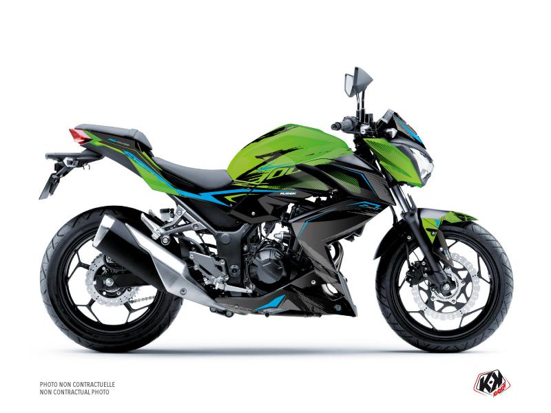 Kit Déco Moto Airline Kawasaki Z 300 Vert Bleu
