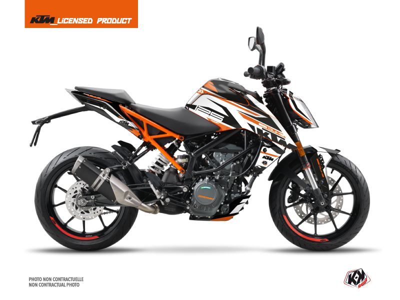 Kit Déco Moto Arkade KTM Duke 125 Orange Blanc