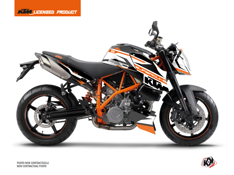 Kit Déco Moto Arkade KTM Super Duke 990 Orange Blanc