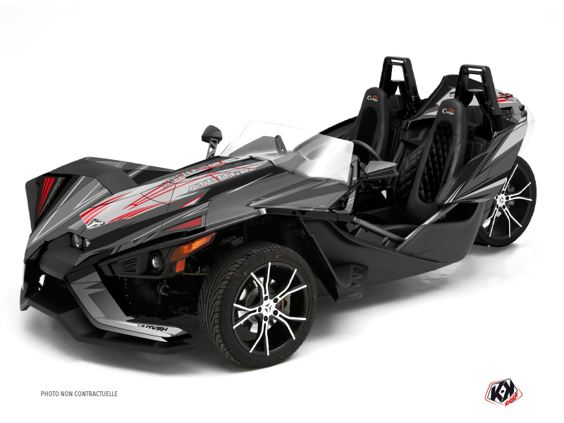Polaris Slingshot Roadster Atomik Graphic Kit Grey Red