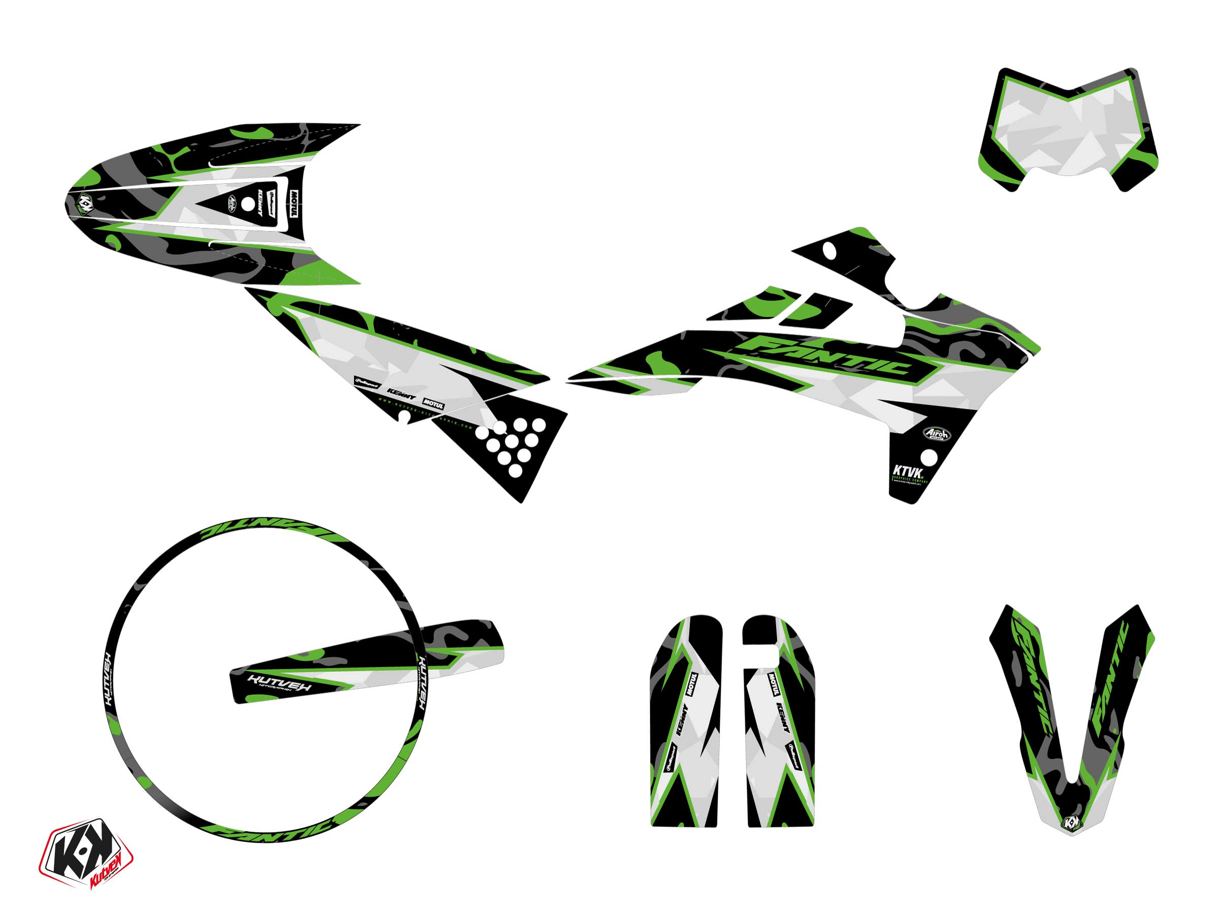 Fantic XM 50 50cc BARBARIAN Graphic Kit Green
