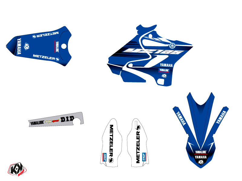 Yamaha 125 YZ Dirt Bike Basik Graphic Kit Blue LIGHT
