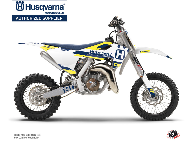 Husqvarna TC 65 Dirt Bike Block Graphic Kit Blue Yellow