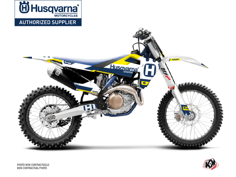 Husqvarna TC 125 Dirt Bike Block Graphic Kit Blue Yellow