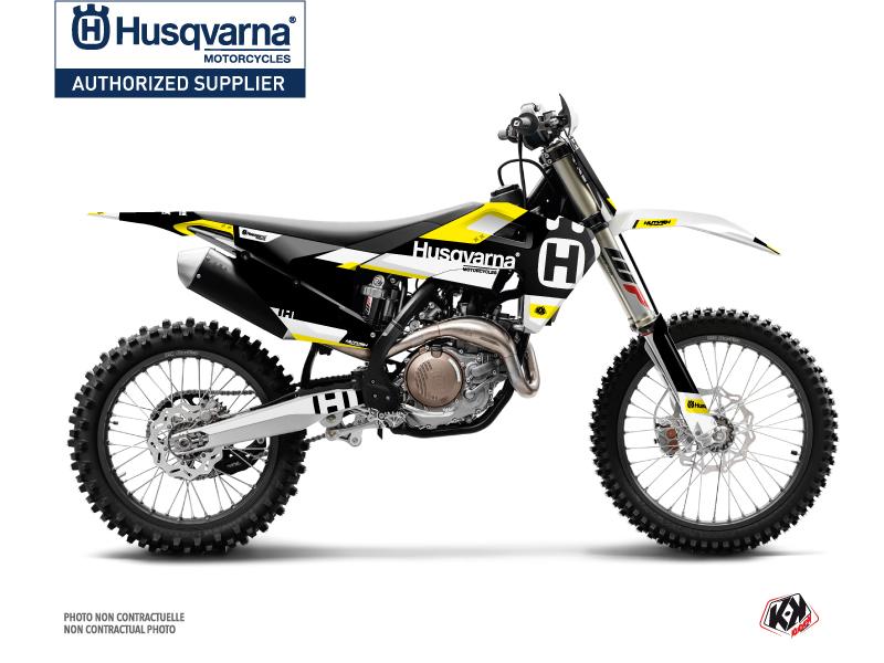 Husqvarna TC 125 Dirt Bike Block Graphic Kit Black Yellow