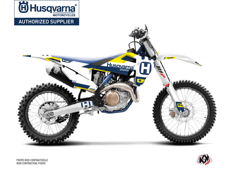 Husqvarna TC 250 Dirt Bike Block  Graphic Kit Blue Yellow