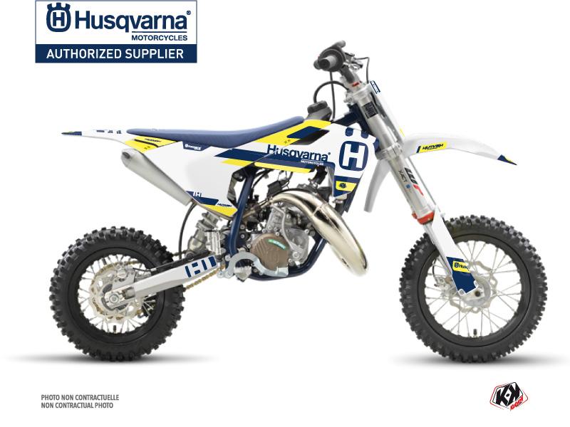 Husqvarna TC 50 Dirt Bike Block Graphic Kit Blue Yellow